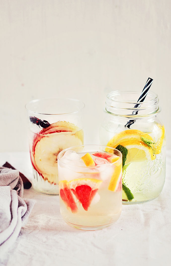 3 Detox Waters for Weight Loss- these are my all-time favorite detox waters to cleanse my body and mind. Includes a citrus and mint infused water, honey and cinnamon water and a grapefruit and apple cider vinegar tonic.