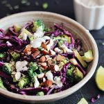 Detox Rainbow Salad (The Best Salad You Will Ever Have)- The ultimate cleansing salad, filled with detoxifying broccoli, red cabbage, red onion and avocado, as well as a tart sauce made from EVOO and lemon juice. If I could eat only ONE salad for the rest of my life, this would be it.