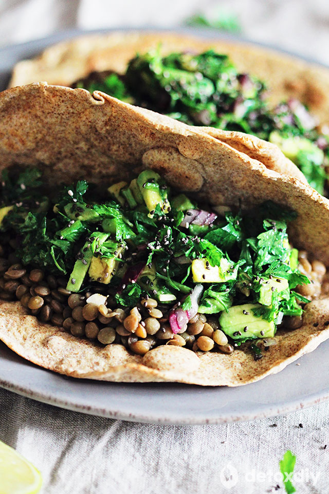 In these lentil and parsley salad tacos you're getting fiber, protein, and minerals from the lentils, as well as antioxidants from the parsley. There's also avocado for healthy fats and additional minerals.