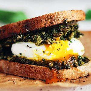 Green Egg Sandwich with Fresh Spring Pesto