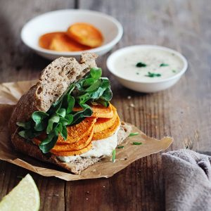 Sweet Potato Sandwich with Vegan Tzatziki Sauce
