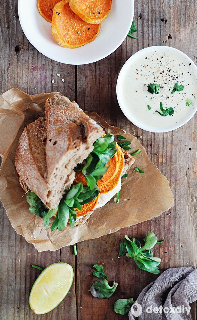 This sandwich is packed with the power of sweet potatoes, and finished off with a tasty vegan tzatziki sauce. Each ingredient has been selected to help you along with your detox and make you feel great.