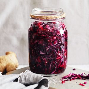 Probiotic Beet and Red Cabbage Sauerkraut