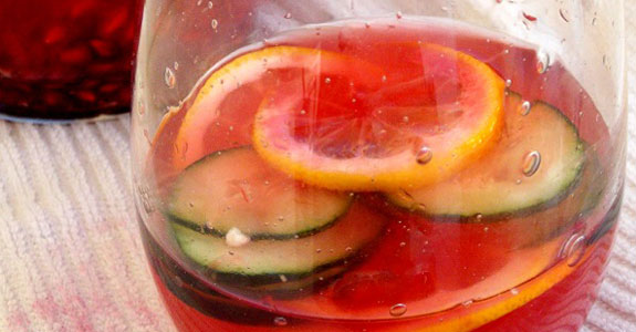 Pomegranate Cucumber Lemon Infused Detox Water