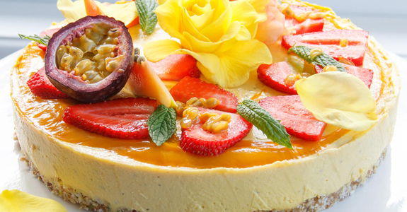 Raw Mango and Passionfruit Cake