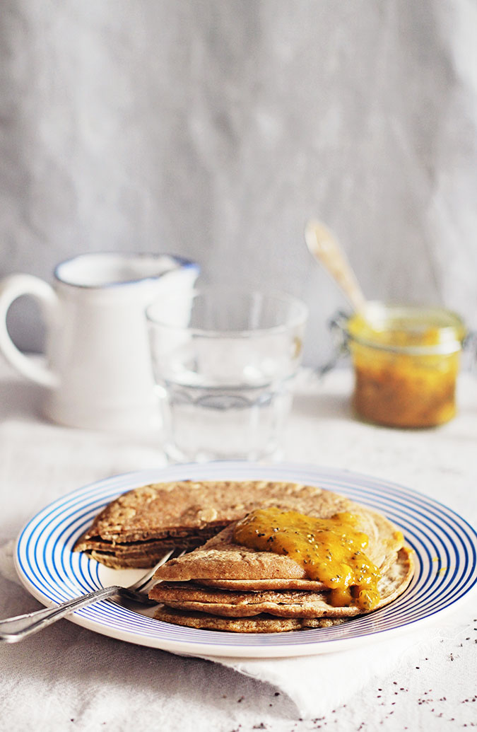 These buckwheat pancakes with a mango chia jam are a gluten-free, low-sugar way to enjoy a breakfast while also contributing to a detox plan.