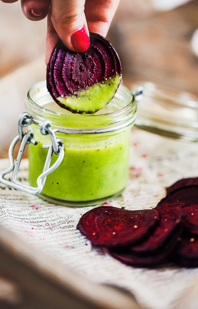 Pea Guacamole with Bakes Beet Chips