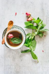 This stress relief rosebud and mint tea is my new favorite way to calm down and refocus at work.