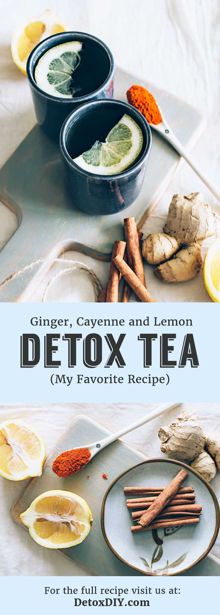 My favorite lemon detox tea recipe using just 4 simple ingredients. Definitely a must-try!