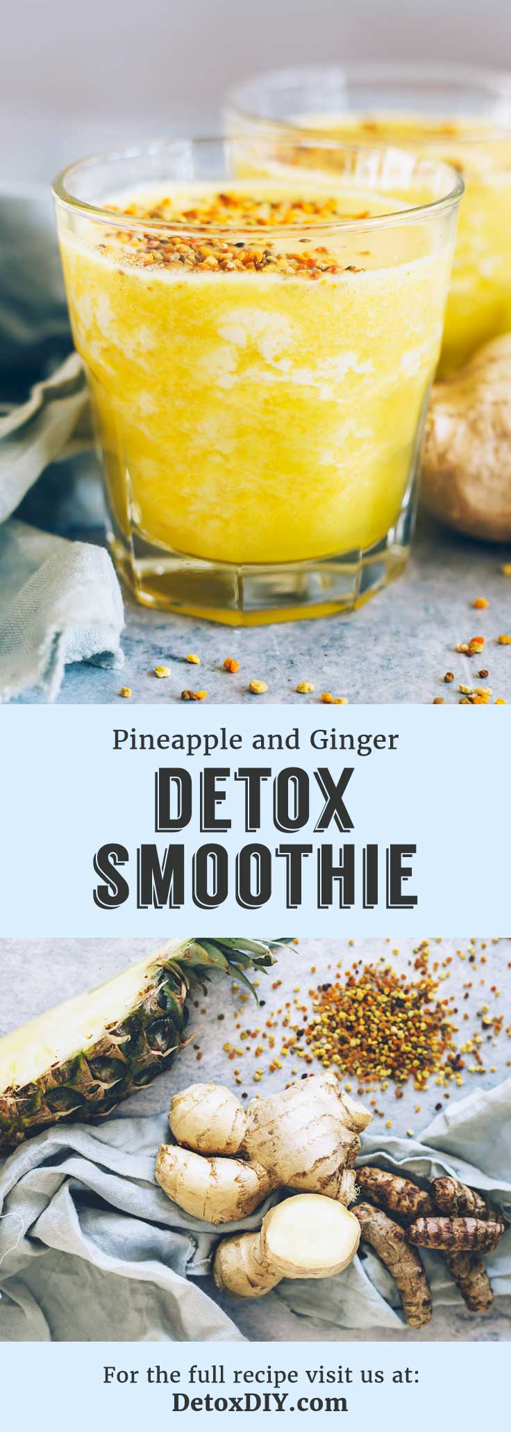Try this tasty smoothie recipe! It is my favorite turmeric and ginger detox smoothie to help clear and smooth my skin.