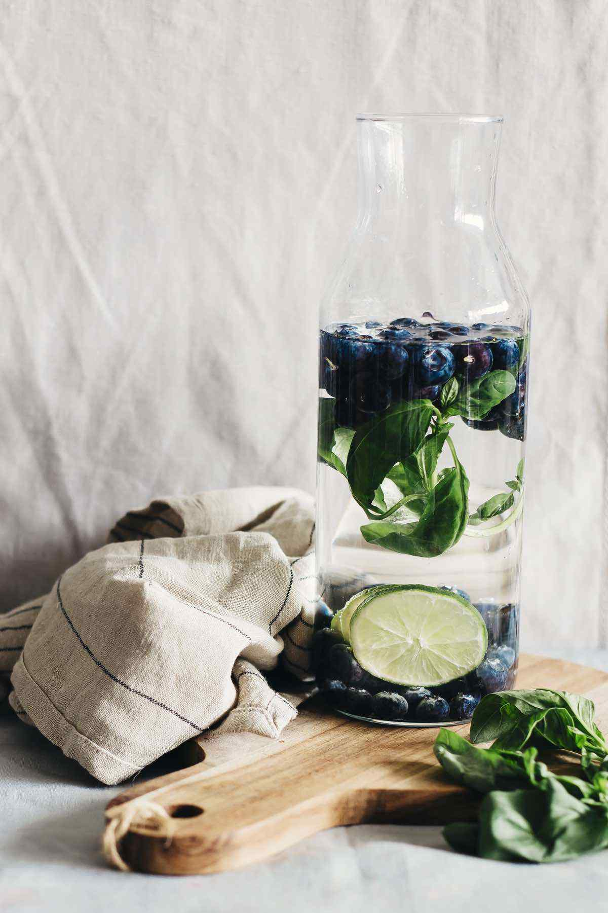 Blueberry Lime Basil Detox Water