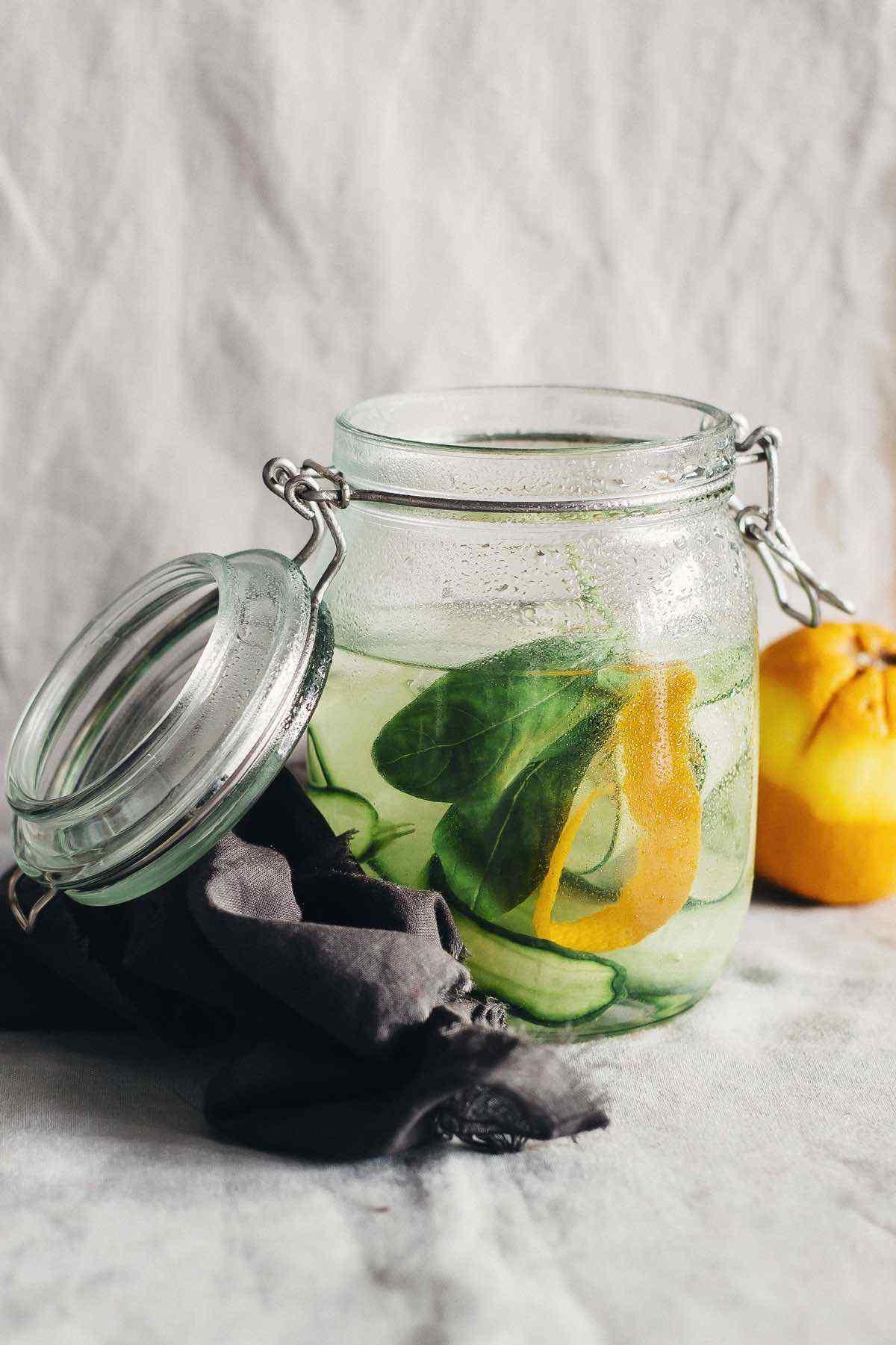 Cucumber Basil Tangerine Peel Detox Water