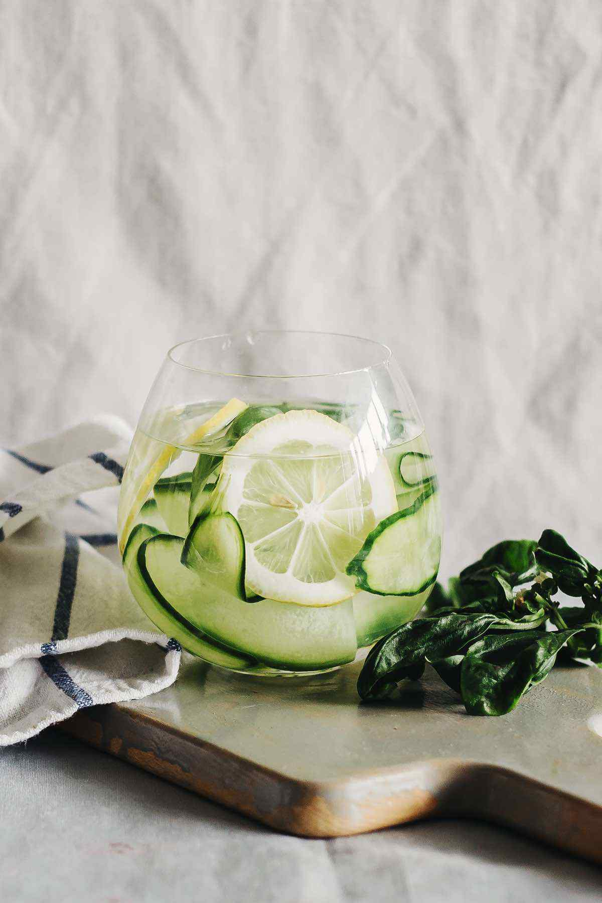 Cucumber Lemon Zucchini Basil Detox Water