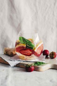 Powerful Pink Grapefruit Strawberry Ginger Basil Detox Water