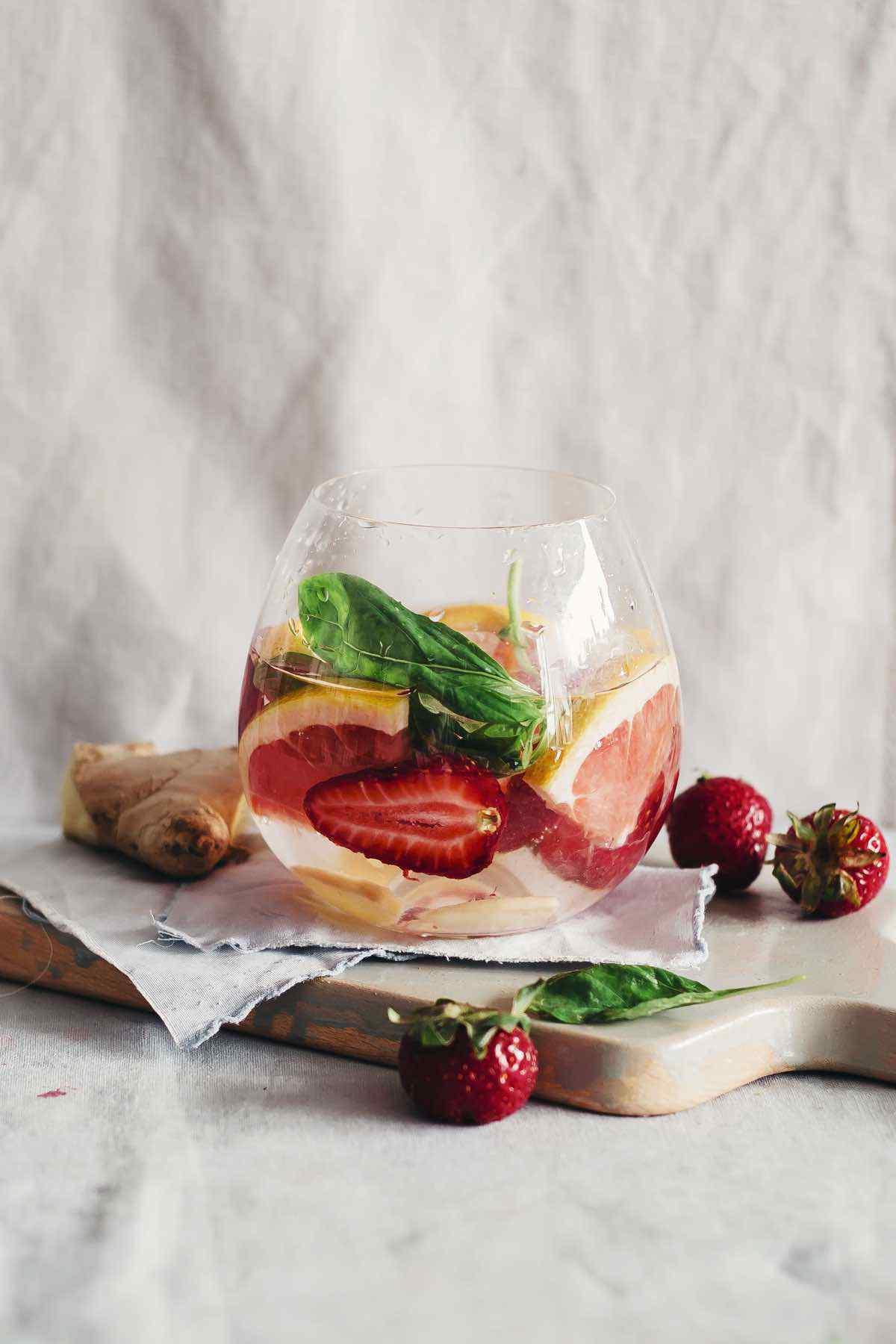 Grapefruit Strawberry Ginger Basil Detox Water