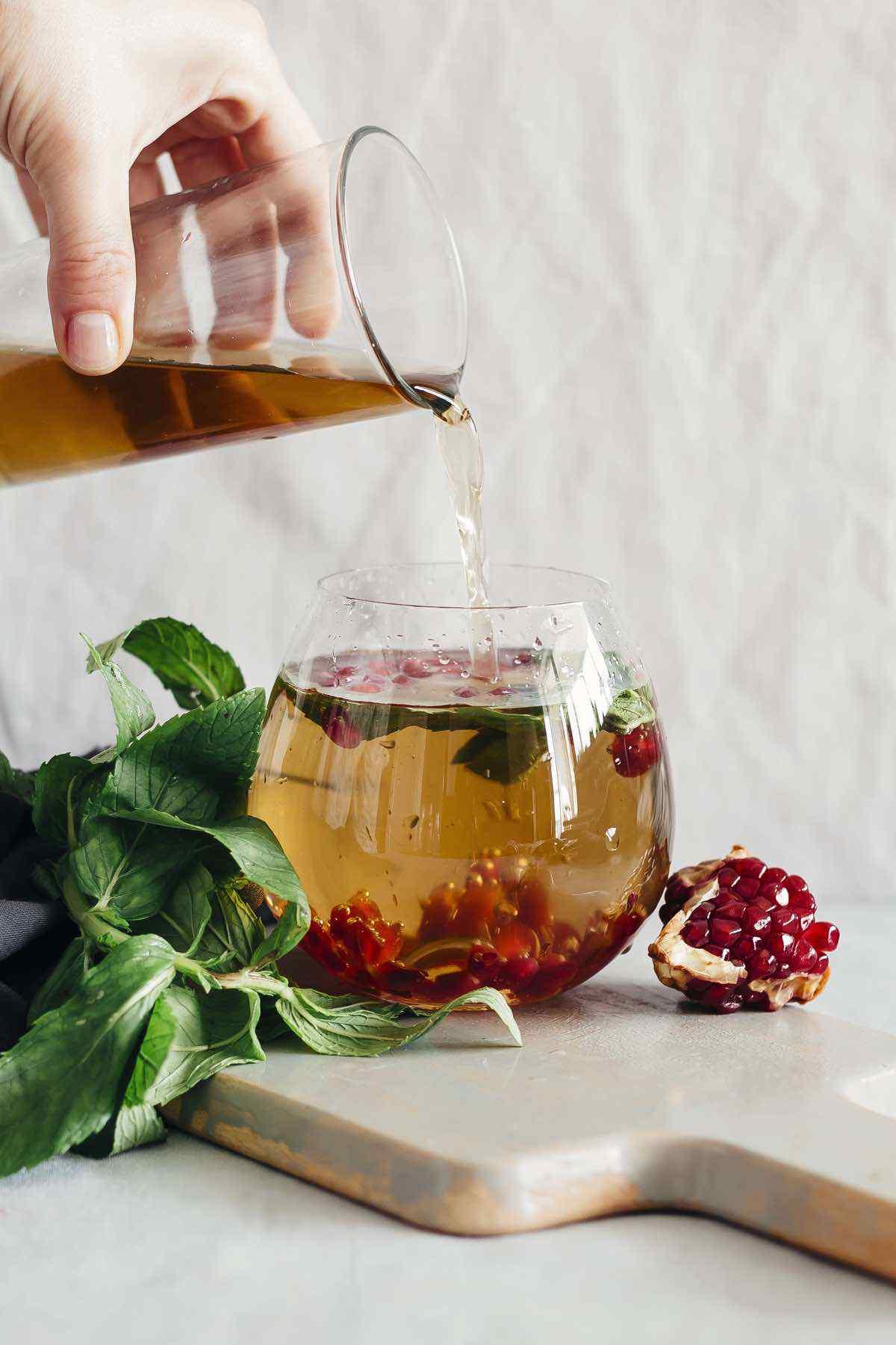 Green Tea Pomegranate Mint Detox Water