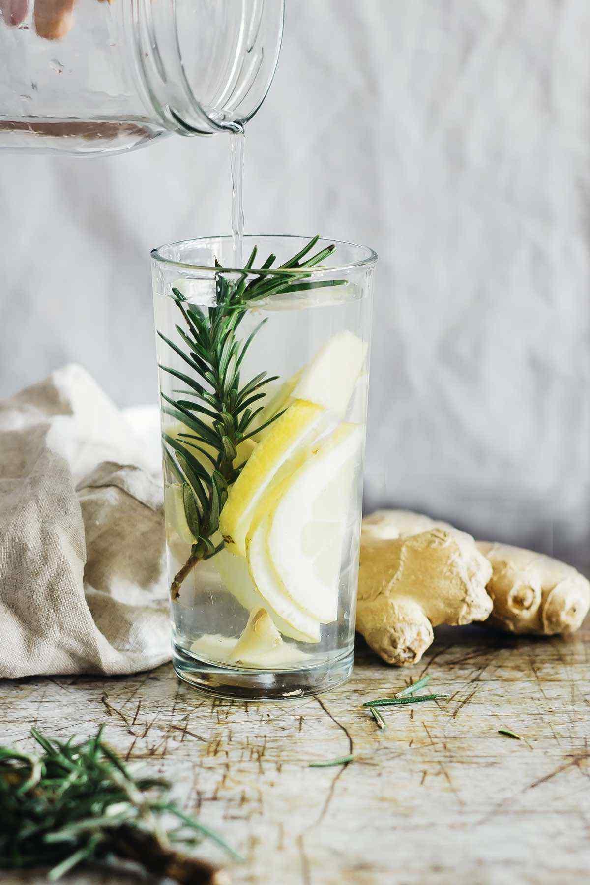 Lemon Ginger Rosemary Detox Water