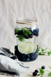 Blueberry Lime Cilantro Detox Water