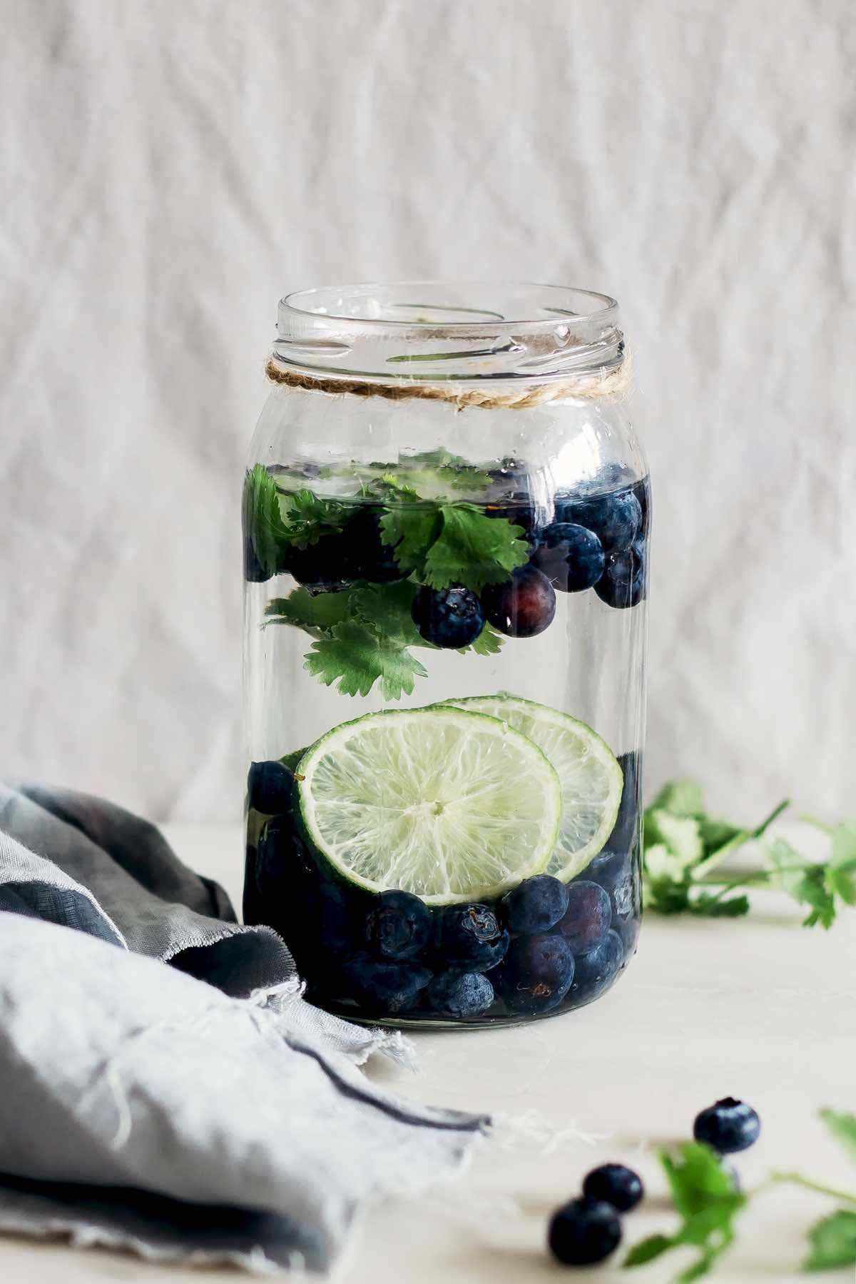 Lime Blueberry Cilantro Detox Water