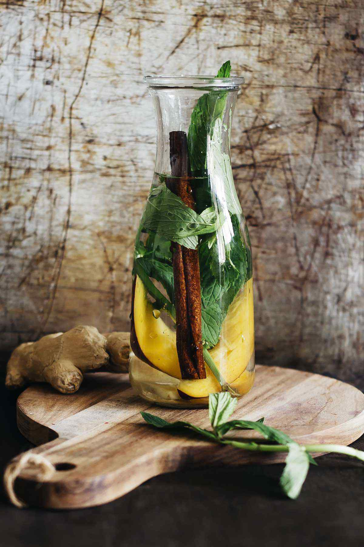 Mango Mint Ginger Cinnamon Detox Water