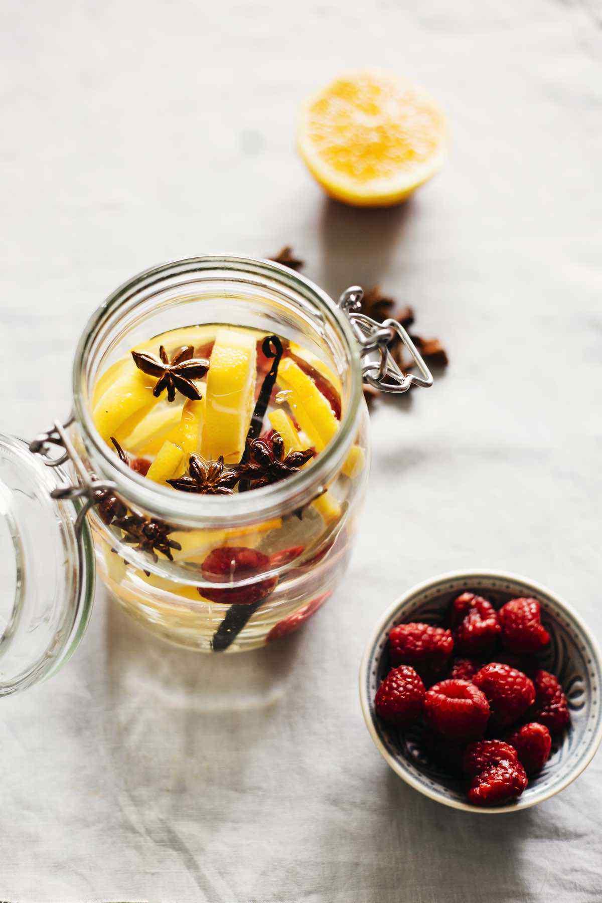 Orange Raspberry Vanilla Anise Detox Water