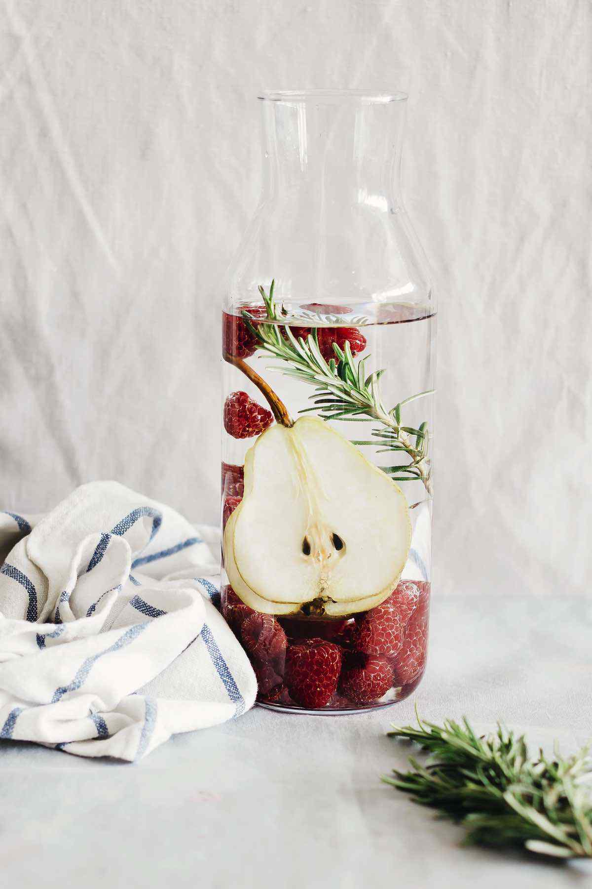 Pear Raspberry Rosemary Detox Water