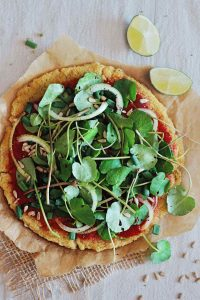 Quinoa Crust Pizza with Greens (Yum!)
