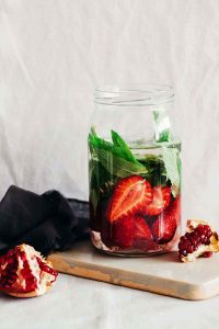 Antioxidant Strawberry Pomegranate Mint Fruit Infused Water