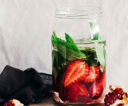 Strawberry Pomegranate Mint Detox Water