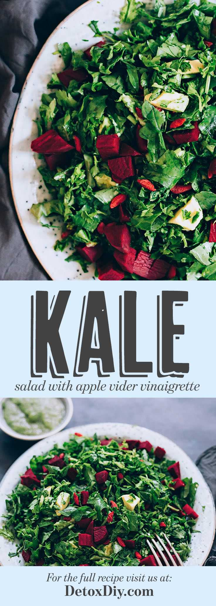 Beet, Avocado and Kale Salad with Apple Cider Vinaigrette