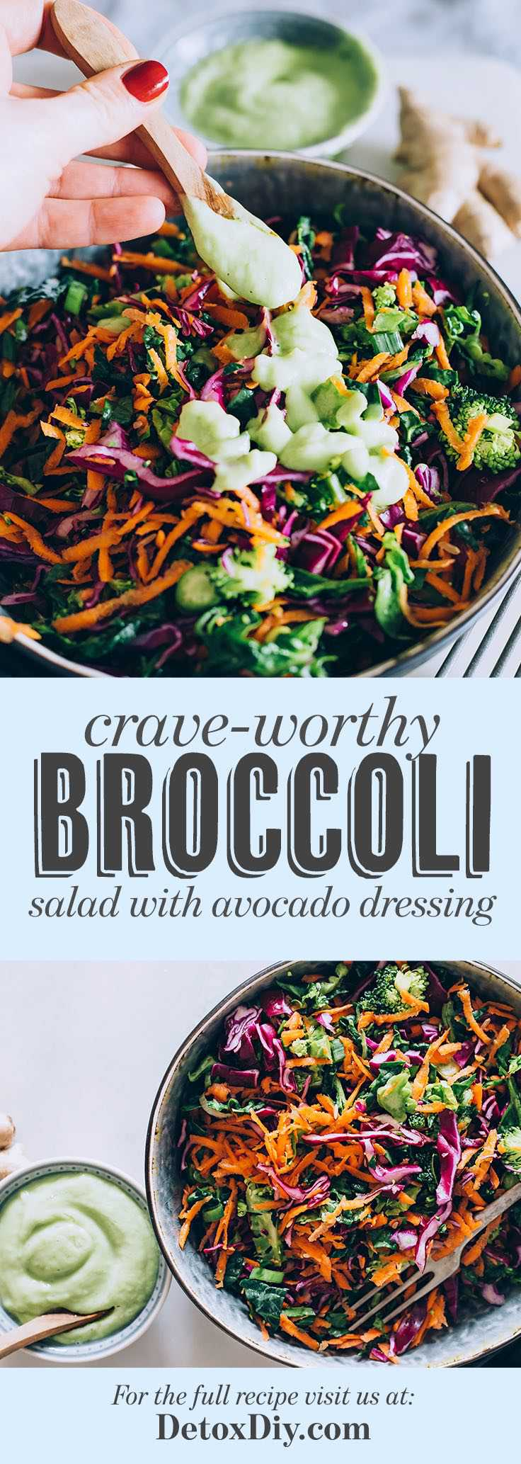 This broccoli salad with homemade avocado dressing is the best!