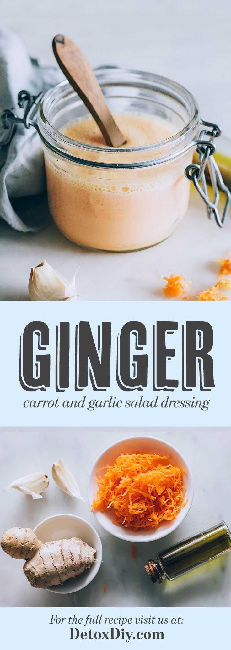 Homemade Carrot Ginger Salad Dressing with Avocado Oil