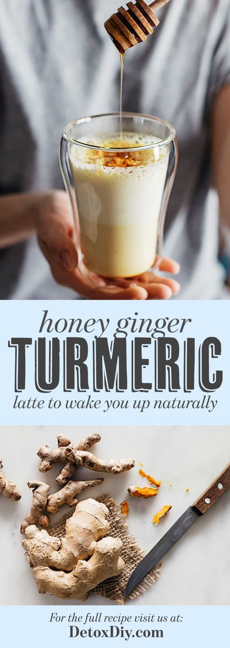 Wake up natural with this energy boosting honey ginger turmeric latte.