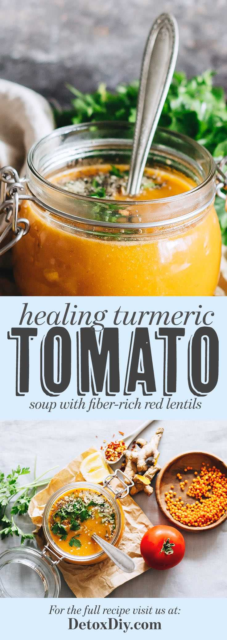 Healing Turmeric Tomato Soup with Red Lentils