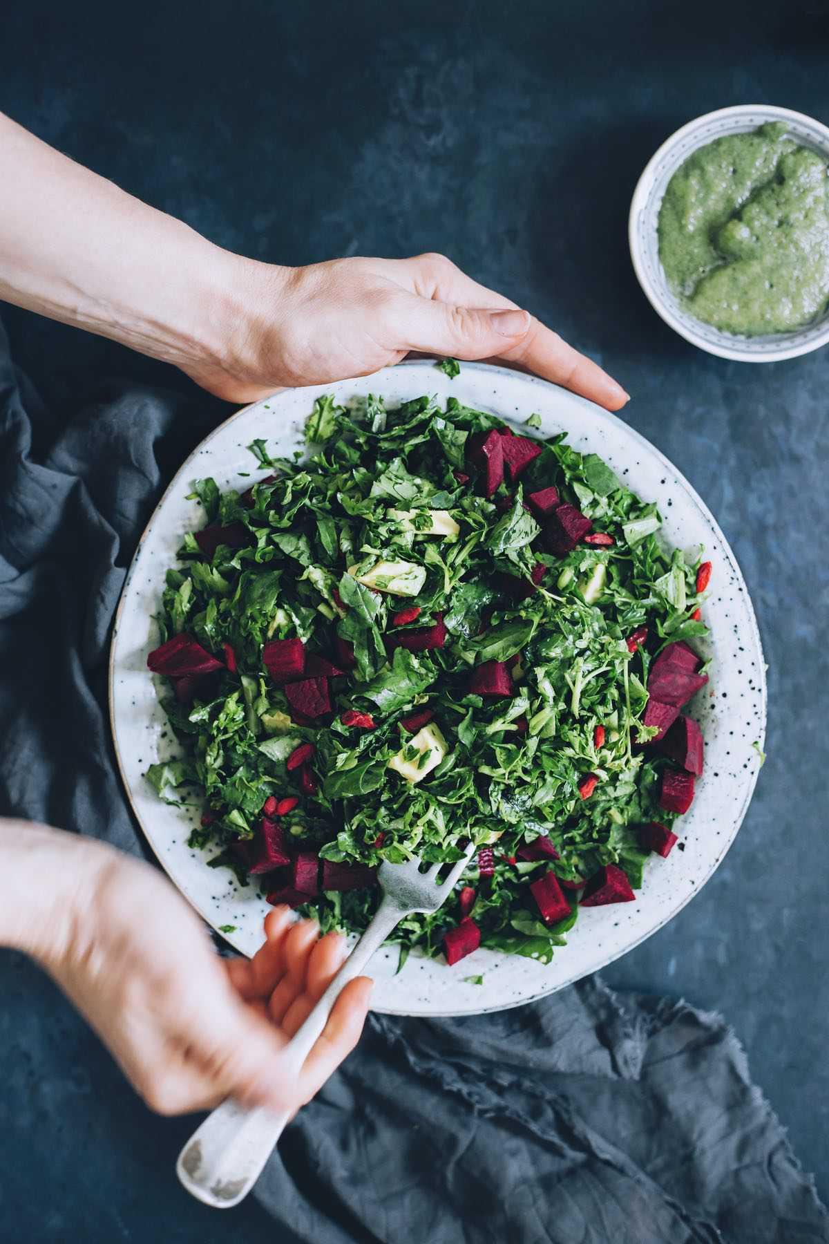 Beet Avocado Kale Salad